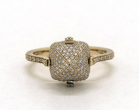 18K Yellow Gold Pave Diamond Sugarloaf Ring
