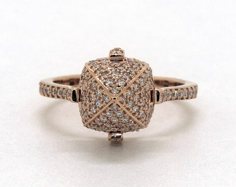 18K Rose Gold Pave Diamond Sugarloaf Ring