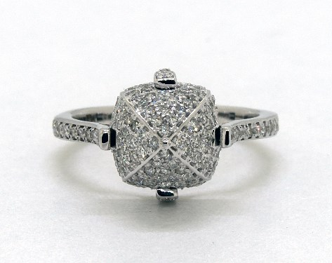 18K White Gold Pave Diamond Sugarloaf Ring
