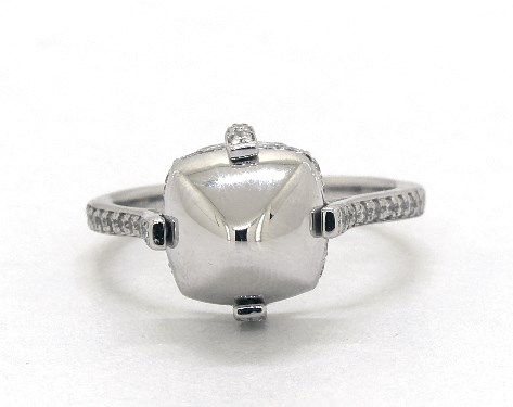 18K White Gold and Diamond Sugarloaf Ring