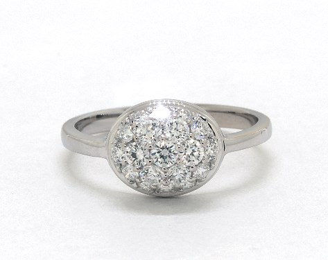 18K White Gold East-West Oval Pave Diamond Ring