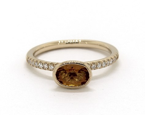 18K Yellow Gold East-West Oval Citrine and Diamond Ring (7.0x5.0mm)