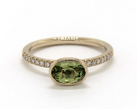 18K Yellow Gold East-West Oval Peridot and Diamond Ring (7.0x5.0mm)