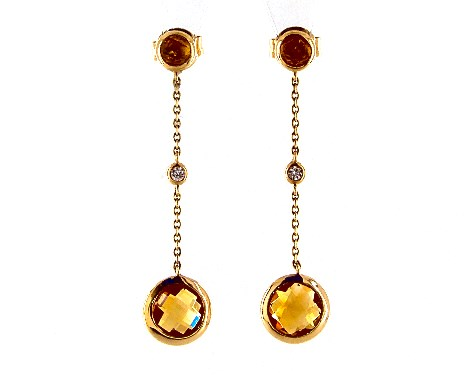 14K Yellow Gold Citrine and Diamond Bezel Drop Earrings By EFFY (7.0mm)