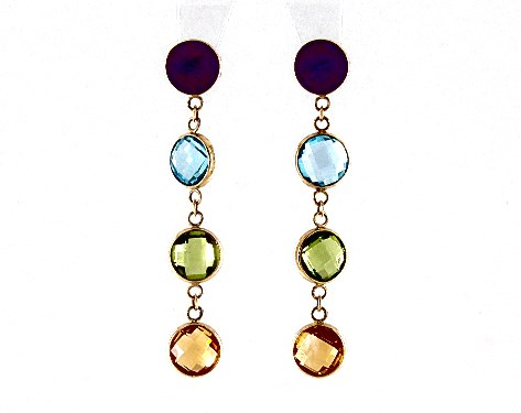 14K Yellow Gold Multi Gemstone Drop Earrings by EFFY