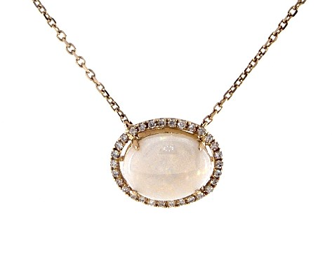 14K Yellow Gold Opal and Diamond Halo Necklace By EFFY (10.0x8.0mm)