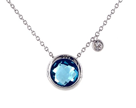 14K White Gold Blue Topaz and Diamond Bezel Necklace (8.0mm)