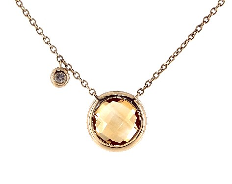 14K Yellow Gold Citrine and Diamond Bezel Necklace (8.0mm)