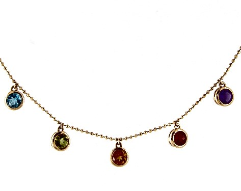14K Yellow Gold Multi Gemstone Drop Necklace by EFFY