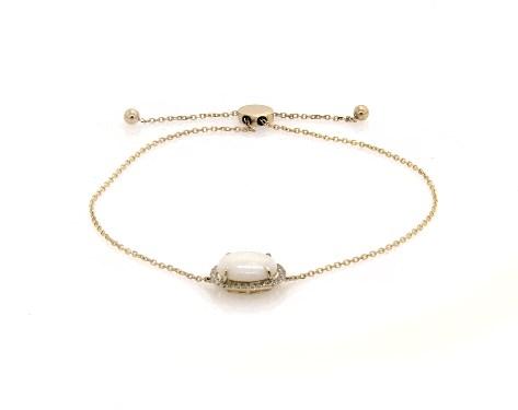 14K Yellow Gold Opal and Diamond Halo Bolo Bracelet by EFFY (10.0x8.0mm)
