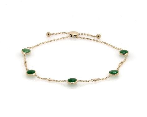 14K Yellow Gold Jade and Diamond Station Bolo Bracelet by EFFY