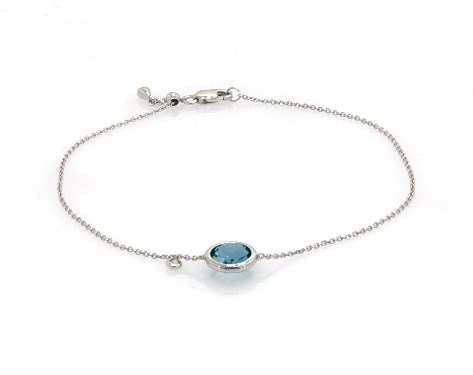 14K White Gold Blue Topaz and Diamond Bezel Bolo Bracelet by EFFY (8.0mm)