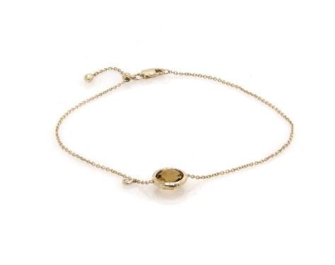 14K Yellow Gold Citrine and Diamond Bezel Bolo Bracelet by EFFY (8.0mm)