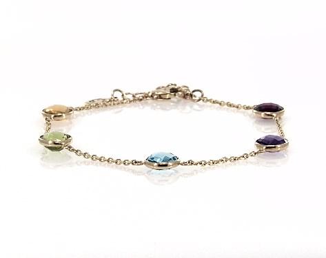 14K Yellow Gold Multi Gemstone Station Chain Bracelet by EFFY