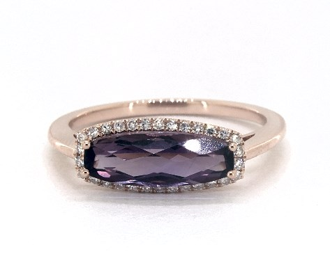 50a0f47d21c36 14K Rose Gold East-West Amethyst and Diamond Halo Ring by EFFY (12.5x4.0mm)