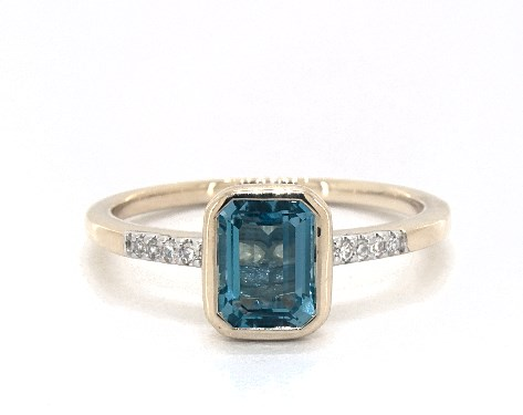 14K Yellow Gold Bezel Set Blue Topaz and Diamond Ring by EFFY (7.0x5.0mm)