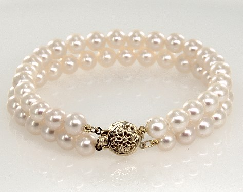 14K Yellow Gold Freshwater Cultured Pearl Double Strand Bracelet (6.0-7.0mm)