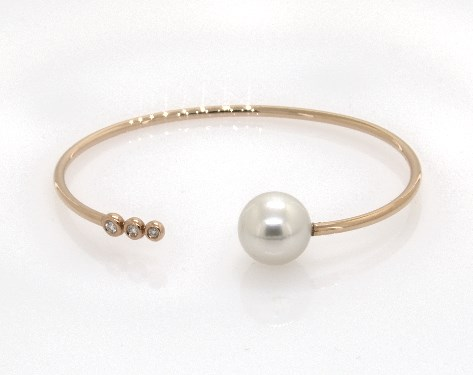 18K Rose Gold South Sea Cultured Pearl and Bezel Set Diamond Trio Bangle Bracelet (11.0-12.0mm)