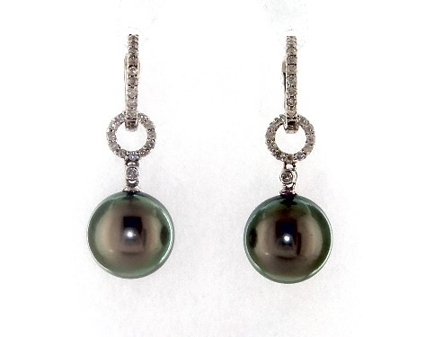 18K White Gold Tahitian Cultured Pearl and Diamond Link Drop Earring (11.0-12.0mm)