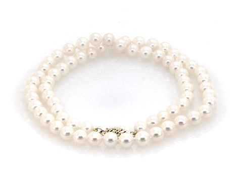 """14K Yellow Gold Freshwater Cultured Pearl Fish Clasp 18"""" Necklace (6.0-7.0mm)"""