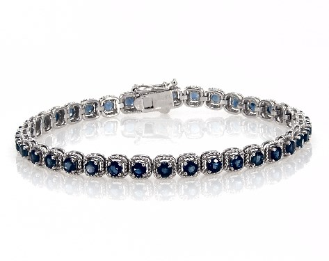 14K White Gold Sapphire Cushion Cable Halo Tennis Bracelet (3.0mm)