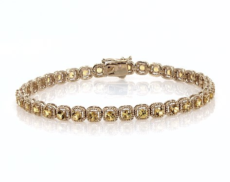 14K Yellow Gold Yellow Sapphire Cushion Cable Halo Tennis Bracelet (3.0mm)