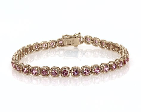 14K Yellow Gold Pink Sapphire Cushion Cable Halo Tennis Bracelet (3.0mm)