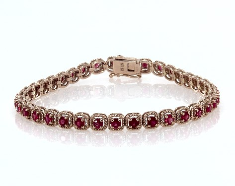 14K Rose Gold Pink Sapphire Cushion Cable Halo Tennis Bracelet (3.0mm)