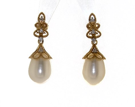 9a13ae00c earrings, pearl earrings, 14k yellow gold vintage inspired cultured  freshwater pearl and diamond drop earrings 90 95mm item 65177