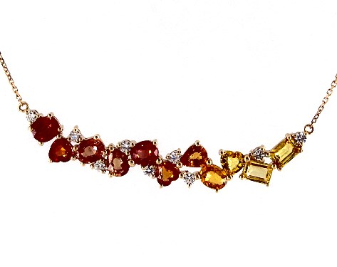 14K Yellow Gold Yellow Orange Sapphire and Diamond Cluster Bar Necklace