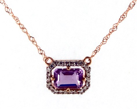 14K Rose Gold Amethyst and Diamond Floating Halo Necklace (6.0x4.0mm)