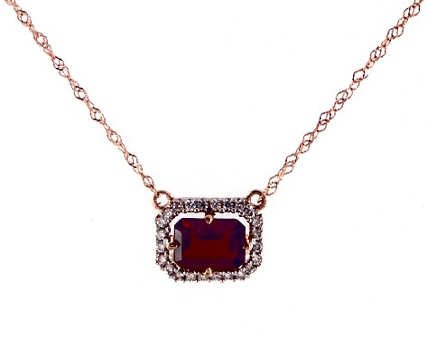 14K Rose Gold Garnet and Diamond Floating Halo Necklace (6.0x4.0mm)