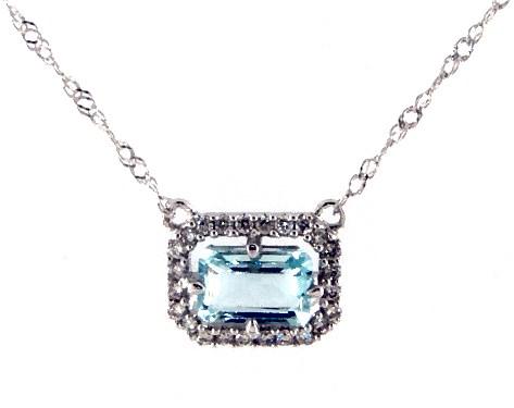 14K White Gold Aquamarine and Diamond Floating Halo Necklace (6.0x4.0mm)