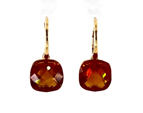 14K Yellow Gold Cushion Cut Madeira Citrine Checkerboard Leverback Earrings (10.0x10.0mm)