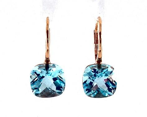 14K Rose Gold Blue Topaz Checkerboard Leverback Earrings (10.0x10.0mm)