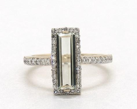 14K Yellow Gold Emerald Cut Prasiolite and Diamond Halo Geometric Ring (12.0x4.0mm)