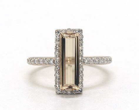 14K Yellow Gold Emerald Cut Citrine and Diamond Halo Geometric Cocktail Ring (12.0x4.0mm)