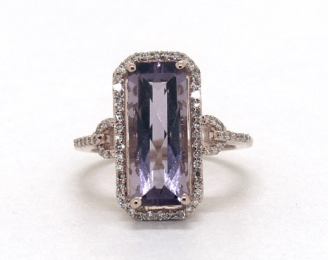 14K Rose Gold Emerald Cut Amethyst and Diamond Halo Cocktail Ring (15.0x6.0mm)