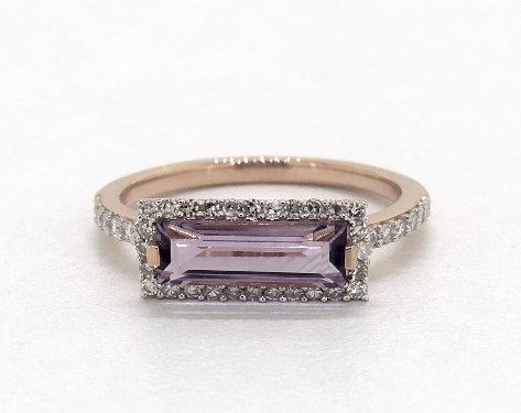 14K Rose Gold East-West Emerald Cut Amethyst and Diamond Halo Bar Ring (10.5x3.5mm)