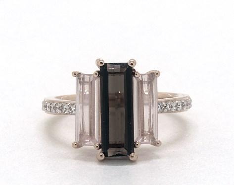 14K Rose Gold Elongated Emerald Cut Smokey and Rose Quartz and Diamond Cocktail Ring
