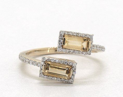 14K Yellow Gold EmeraldCut Citrine and Diamond Halo Bypass Ring (6.0x3.0mm)