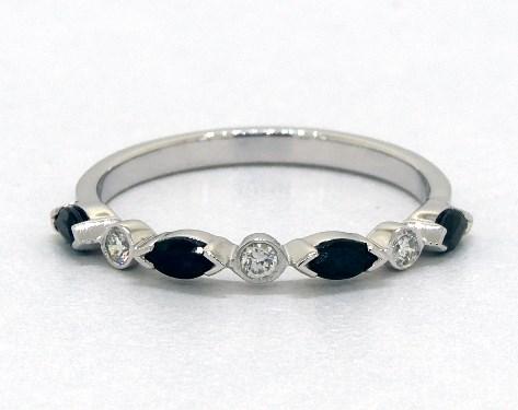 14K White Gold Alternating Bezel Sapphire and Diamond Ring