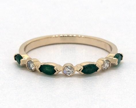 14K Yellow Gold Alternating Bezel Emerald and Diamond Ring