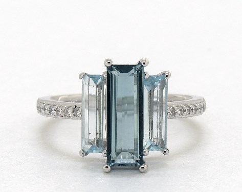 14K White Gold Elongated Emerald Cut Blue Topaz and Diamond Cocktail Ring