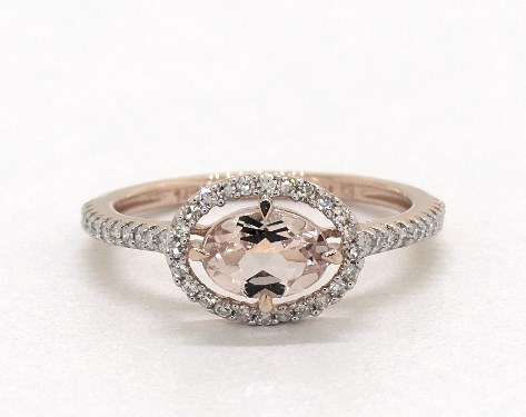 edfca6f03a305 14K Rose Gold East-West Morganite and Diamond Floating Halo Ring (6.0x4.0mm)