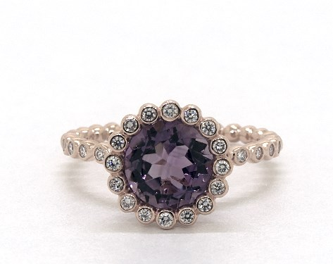 14K Rose Gold Amethyst and Diamond Studded Beaded Halo Ring (8.0mm)