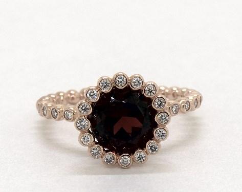 14K Rose Gold Garnet and Diamond Studded Beaded Halo Ring (8.0mm)