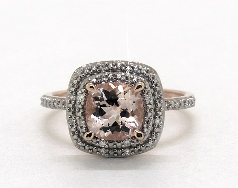 14K Rose Gold Morganite and Diamond Double Halo Cocktail Ring (7.0x7.0mm)