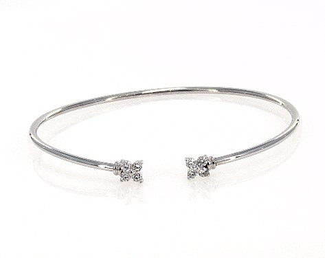 9a158096401b2 14K White Gold Flexible Clover Diamond Bracelet