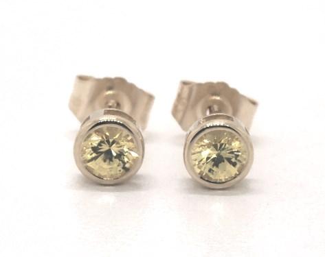 3a519bdf4 earrings, gemstone earrings, 14k yellow gold round bezel set yellow sapphire  stud earrings item 65561